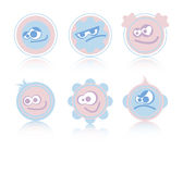 Facial expression. Pink and blue pastel cartoon facial expressions Royalty Free Stock Photo