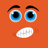 Facial expression. A facial expression with big eyes in an orange background Royalty Free Stock Photography