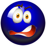 Facial expression on blue ball Royalty Free Stock Images