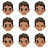 Facial expression of boy (African Descent). Vector Illustration stock illustration