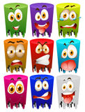 Facial expression on color tubes Royalty Free Stock Photo