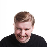 Facial expression, emotions, cheerful man laughing Royalty Free Stock Image