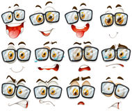 Facial expression with glasses Royalty Free Stock Image