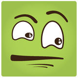Facial Expression. Green background with an abstract facial expression Royalty Free Stock Photography