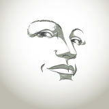 Facial expression, hand-drawn illustration of face of girl with Royalty Free Stock Photos