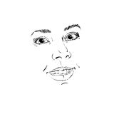 Facial expression, hand-drawn illustration of face of a girl wit Stock Images