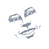 Facial expression, hand-drawn illustration of face of a girl wit Royalty Free Stock Photo
