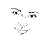 Facial expression, hand-drawn illustration of face of a girl wit Stock Photo