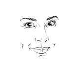 Facial expression, hand-drawn illustration of face of a girl wit. H positive emotional expressions. Beautiful features of lady visage Stock Photo