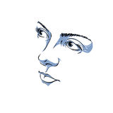Facial expression, hand-drawn illustration of face of romantic Stock Images