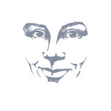 Facial expression, hand-drawn illustration of face of smiling Royalty Free Stock Photo