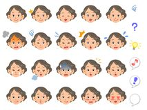 Facial expression of 20 kinds of a senior woman stock illustration