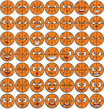 49 facial expression pack - basketball. Emotions set with basketball character Stock Photography