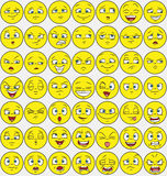 49 facial expression pack. Emotions set with emoticon style face Stock Photo
