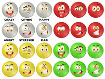 Facial expression on round badges Stock Image
