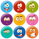 Facial expression on round badges Stock Photos