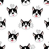 Funny cartoon dogs characters seamless pattern. Stock Photo
