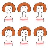 Facial expression of women in border pattern clothes 6 types. The images of Facial expressions of woman in border pattern clothes 6 types stock illustration