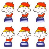 Facial expression of women wearing a beret hat 6 types. The images of Facial expressions of a woman wearing a beret hat 6 types vector illustration