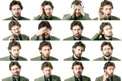 Facial expressions. An image of a set of facial expressions Royalty Free Stock Photos