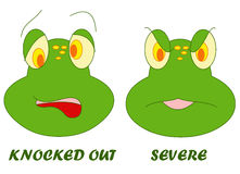 Facial expressions 2. Color illustration of a frog and its various expressions Stock Images