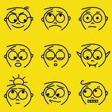 Facial expressions. Set of cartoon boy facial expressions stock illustration