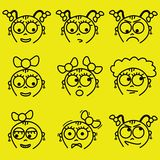 Facial expressions. Set of cartoon girl facial expressions royalty free illustration