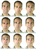 Facial Expressions. Collection of nine different facial expressions and emotions, in high resolution Stock Images