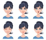 Facial expressions of a beautiful woman. Different female emotions set. Attractive cartoon character. Vector illustration isolated on white background vector illustration