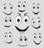Facial expressions, cartoon face emotions Royalty Free Stock Photography