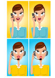 Facial expressions of cartoon operator. Illustration of facial expressions of cartoon beautiful customer support operator speaking into microphone Stock Photography