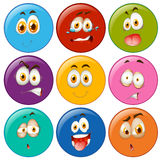 Facial expressions in circle emoticon Royalty Free Stock Photo