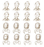 Facial Expressions Collection. With different man and woman emotions in doodle style  vector illustration Stock Images