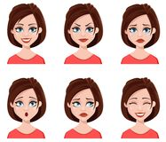 Facial expressions of a cute woman. vector illustration