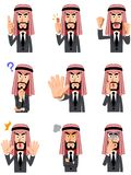 9 facial expressions and gestures of Arab businessman vector illustration