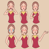 Facial expressions set woman girl vector, expression avatar character, mom happy ask forgiveness, sad, funny Stock Photos