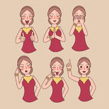 Facial expressions set woman girl vector, expression avatar character, mom happy ask forgiveness, sad, funny Royalty Free Stock Photos