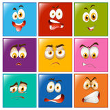 Facial expressions on square badges Royalty Free Stock Images