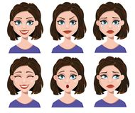 Facial expressions of a woman. Different female emotions set. Stock Photos