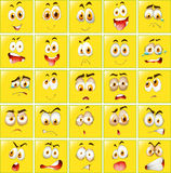 Facial expressions on yellow badges Royalty Free Stock Photos
