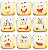 Facial expressions on yellow tiles Royalty Free Stock Photography