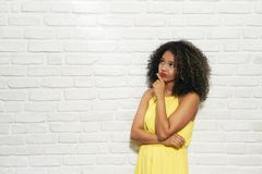 Facial Expressions Of Young Black Woman On Brick Wall Stock Image