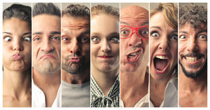 Facial grimaces Royalty Free Stock Images