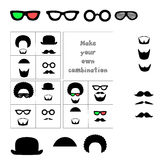 Facial hair and accessories. Mustache, beard, glasses, hat, hair. Combine items to create a desired look. Vector  illustra Royalty Free Stock Photo