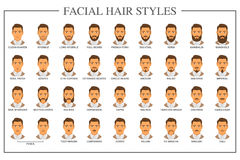 Facial hair types Stock Image