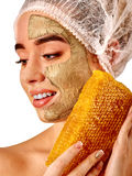 Facial honey clay face mask woman . Honeycombs homemade organic threatment. Stock Images