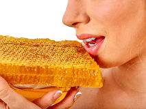 Facial honey mask for woman lips. Honeycombs homemade organic threatment. Stock Photography