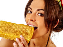 Facial honey mask for woman lips. Honeycombs homemade organic threatment. Royalty Free Stock Photography