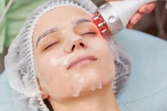 Facial hydrogel mask close up. Stock Photo