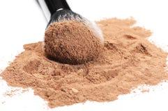 Facial loose powder and makeup brush Royalty Free Stock Photos